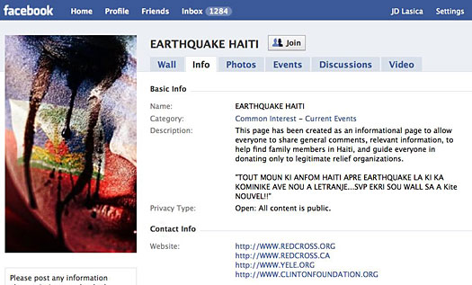 Haiti relief on Facebook