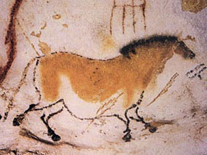 Cave painting of a dun horse at Lascaux, France