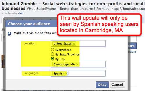 targeting spanish-speaking Facebook followers in Cambridge, Mass.