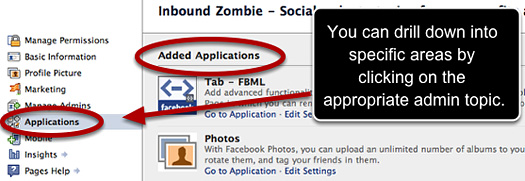 Drilling down into the Facebook Page admin pane