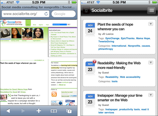Socialbrite before-after