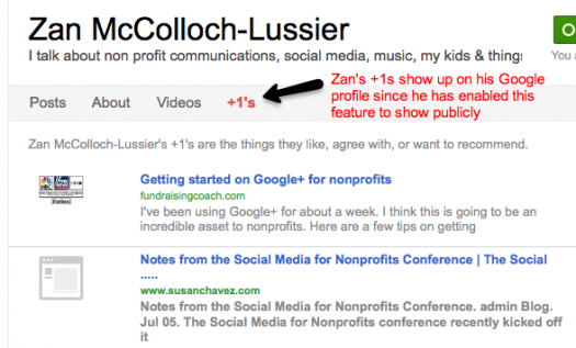 Google+1 profile tab