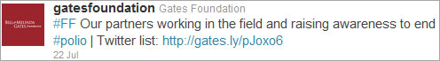 Sample Tweet for Gates Foundation