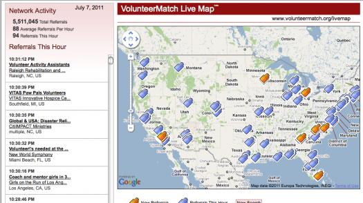 VolunteerMatch live map